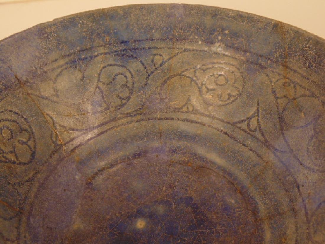 Persian Islamic ceramic bowl, Nishapur, blue interior - 4