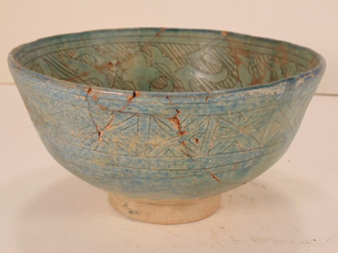 Nishapur ceramic Persian bowl, green/blue in color, - 2