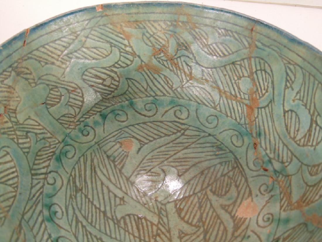 Nishapur ceramic Persian bowl, green/blue in color, - 4