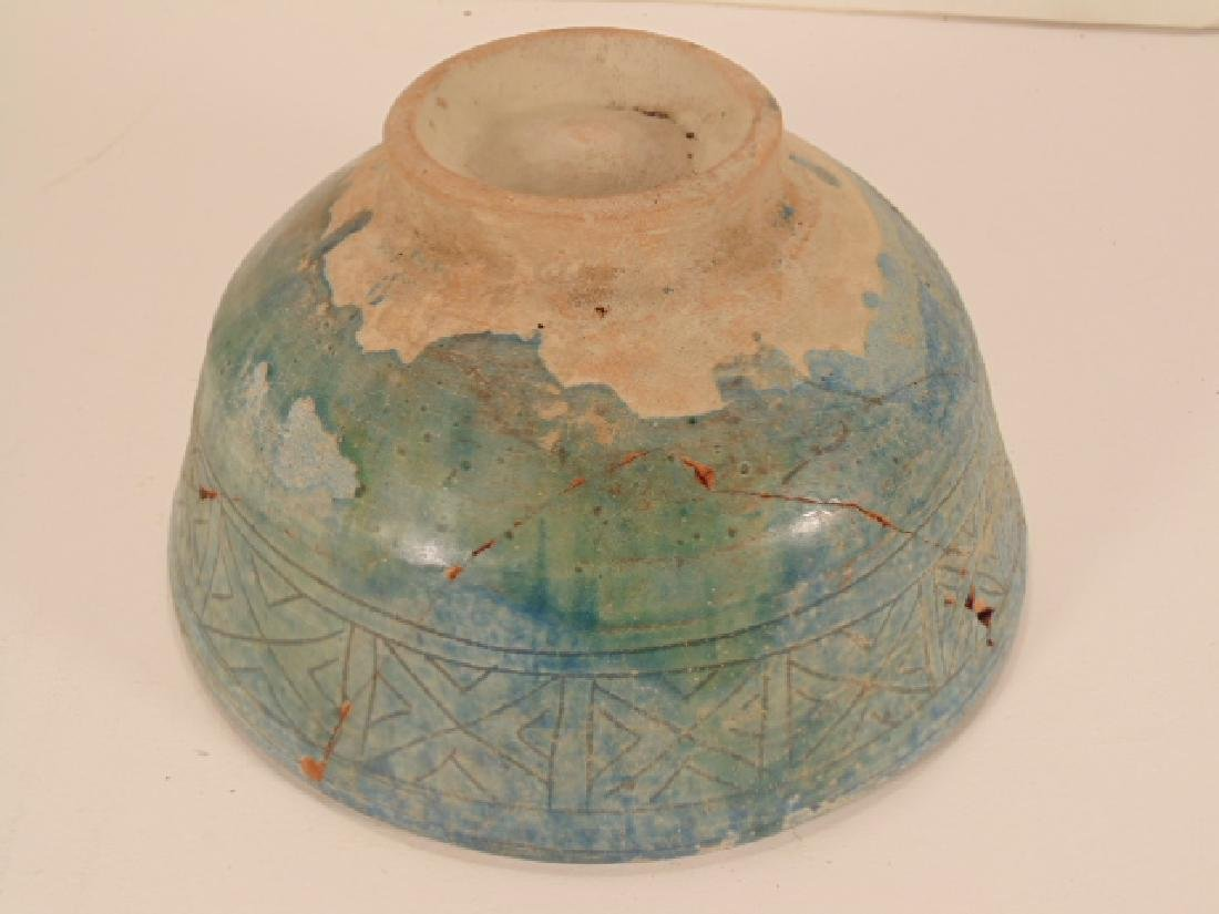 Nishapur ceramic Persian bowl, green/blue in color, - 7