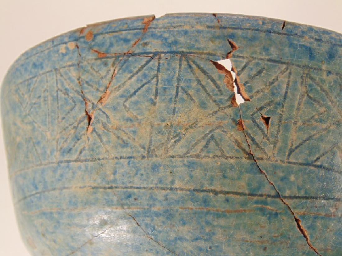 Nishapur ceramic Persian bowl, green/blue in color, - 8