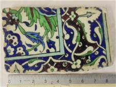 Syrian Damascus tile fragment blue green Christies
