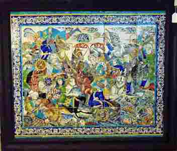 Persian Tile Panel, Safavid era Battle scene. Late