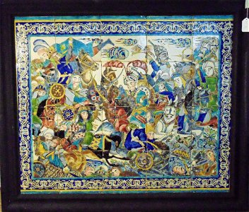 Persian Tile Panel, Safavid era Battle scene. Late