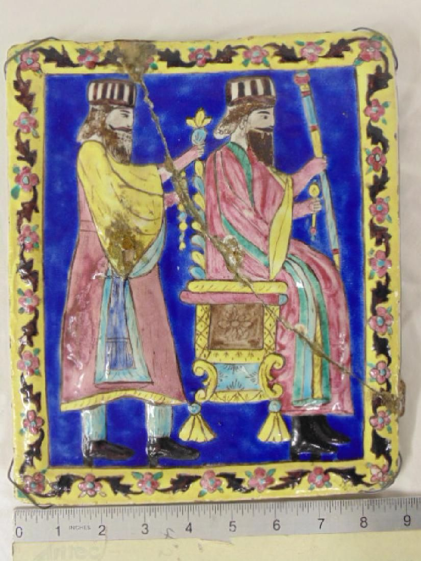 Persian glazed tile, Guard behind Enthroned King, late