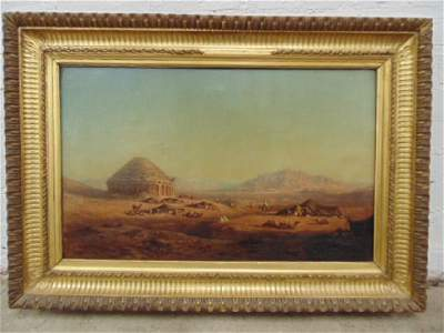 Oil Orientalist landscape with Arab figures, camels,