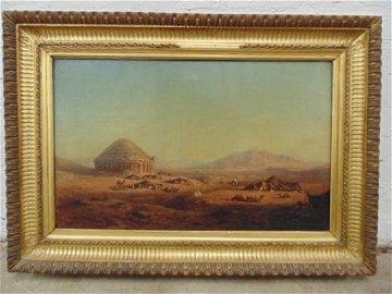 Oil Orientalist landscape with Arab figures, camels,