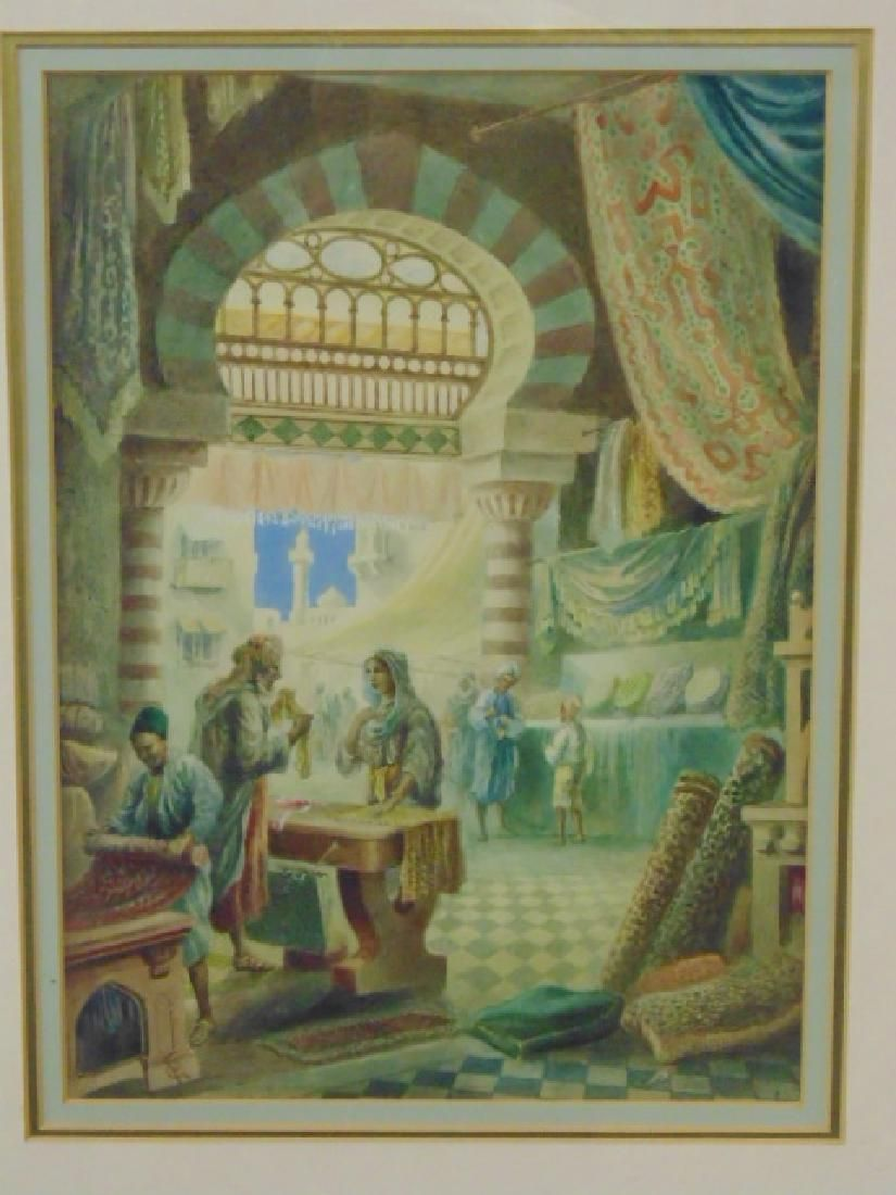 """Watercolor, """"A Rug & Tapestry Bazaar, Cairo, Egypt"""","""