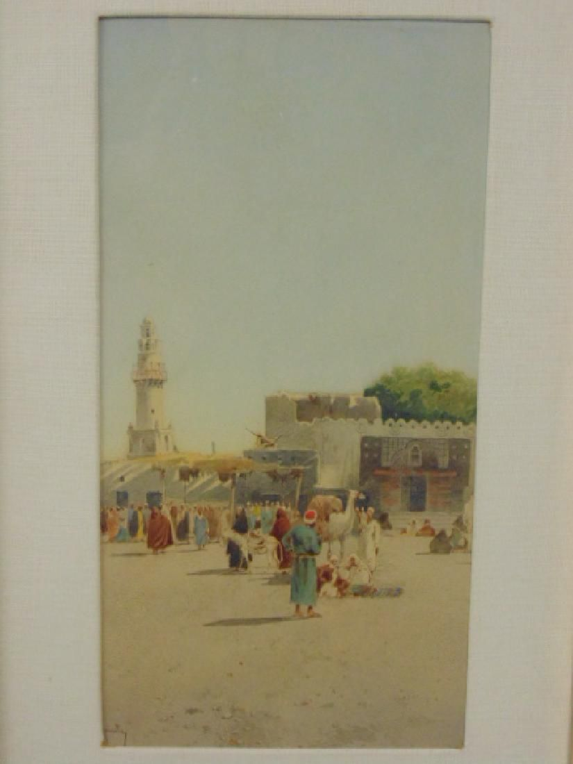 Persian watercolor, village scene with minaret, signed