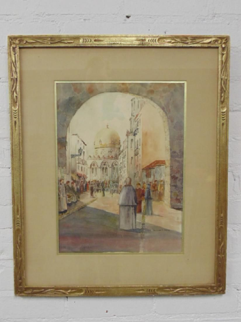 "Watercolor, ""Cairo"", scene with alley, domed Mosque,"