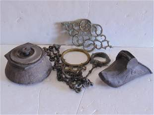 Persian brass bronze pottery lot consists of single