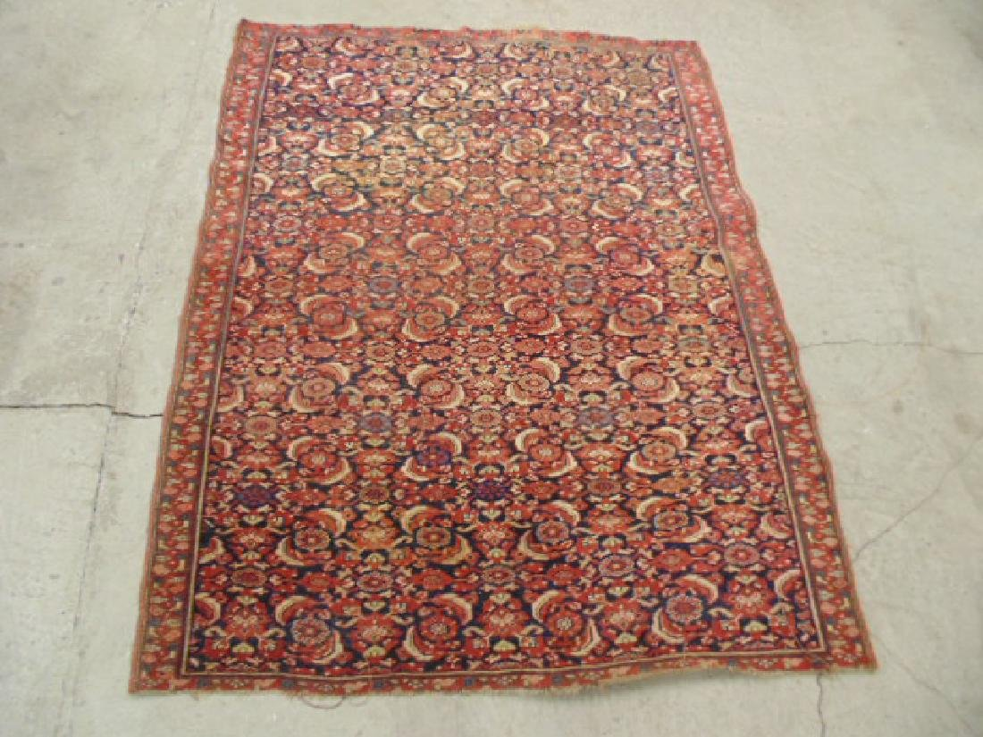 "Persian carpet, rug, red, 74"" by 59"", portion of ends"