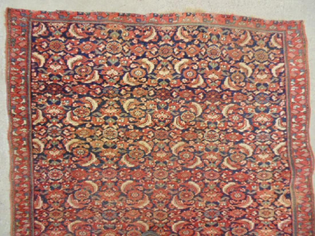 "Persian carpet, rug, red, 74"" by 59"", portion of ends - 2"