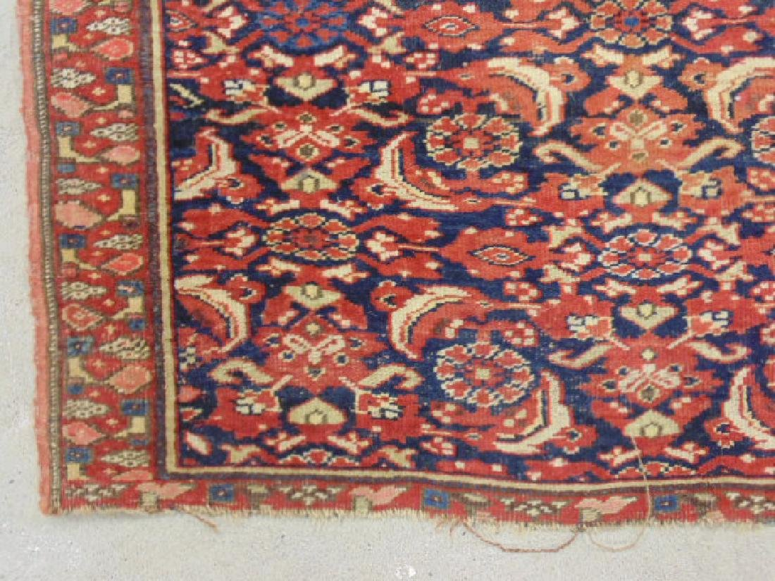 "Persian carpet, rug, red, 74"" by 59"", portion of ends - 3"