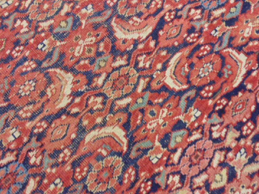 "Persian carpet, rug, red, 74"" by 59"", portion of ends - 4"