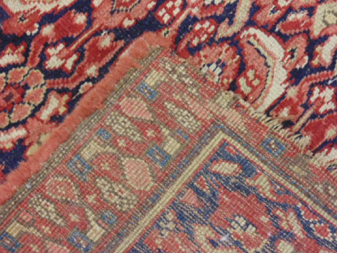 "Persian carpet, rug, red, 74"" by 59"", portion of ends - 5"