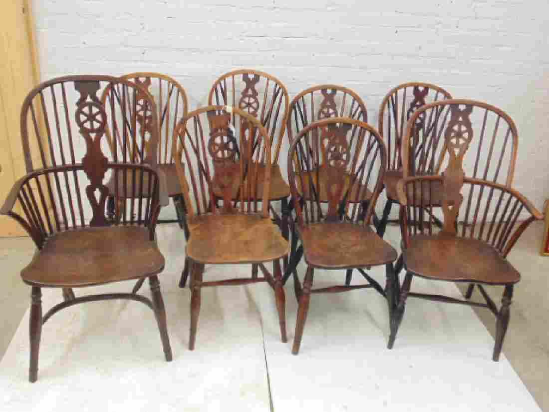 Assembled set of 8 wheelback Windsor chairs, 2 arm & 6