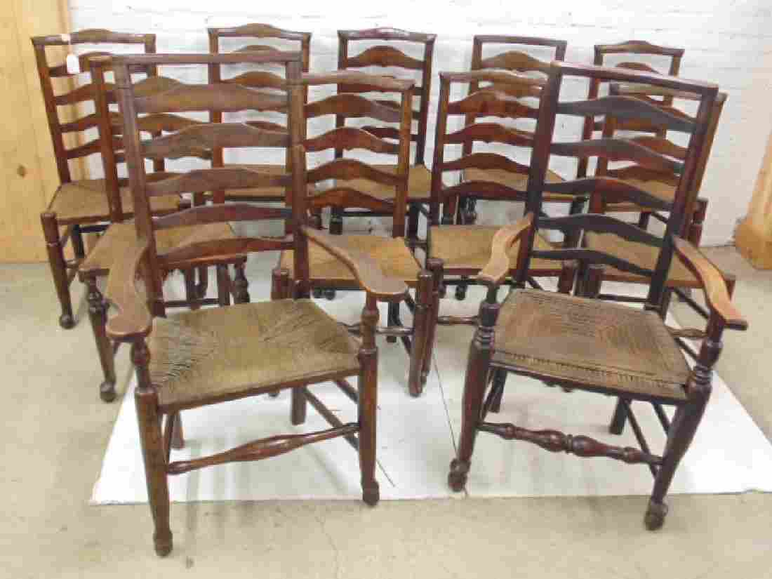 Assembled set of 11 French country ladder-back chairs,