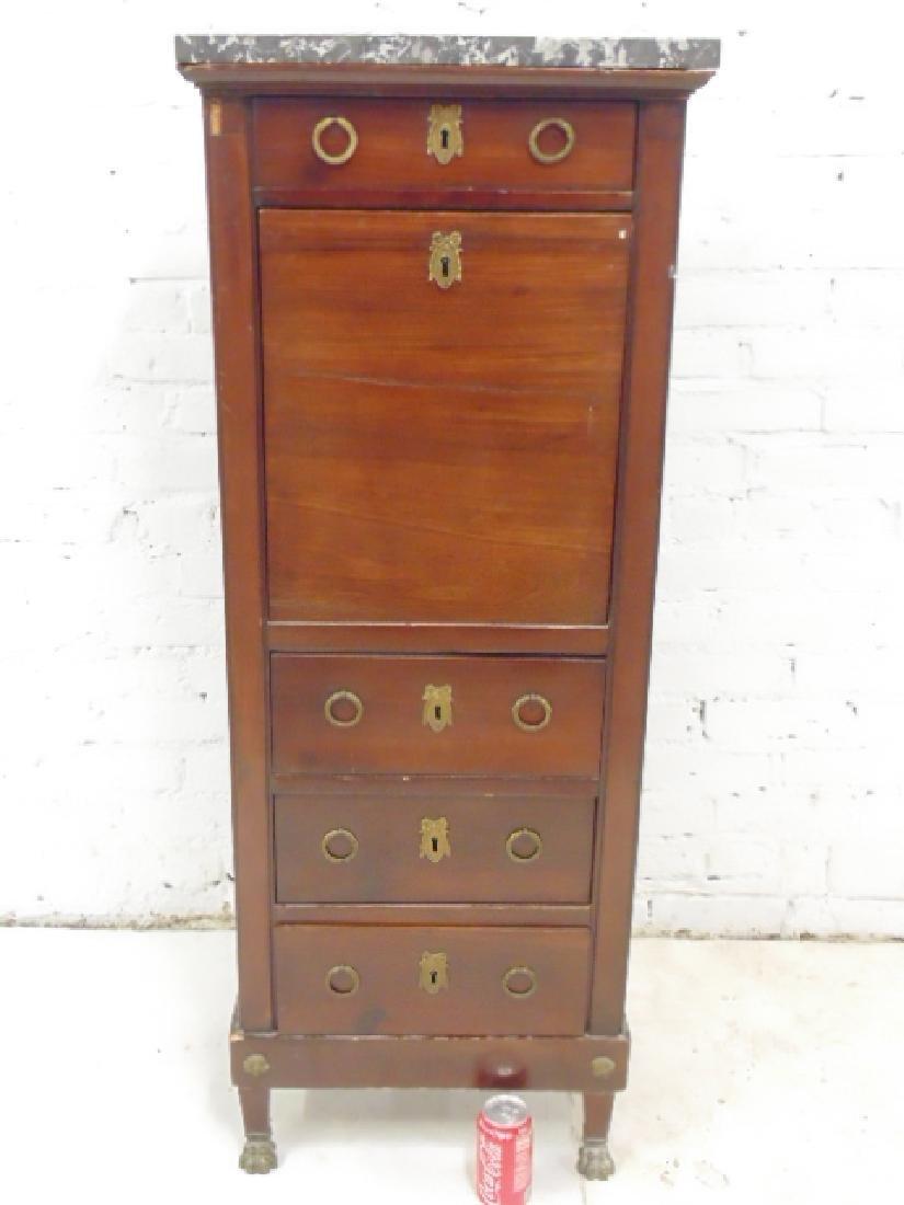 Drop front desk, lingerie style case, 3 drawers, drop