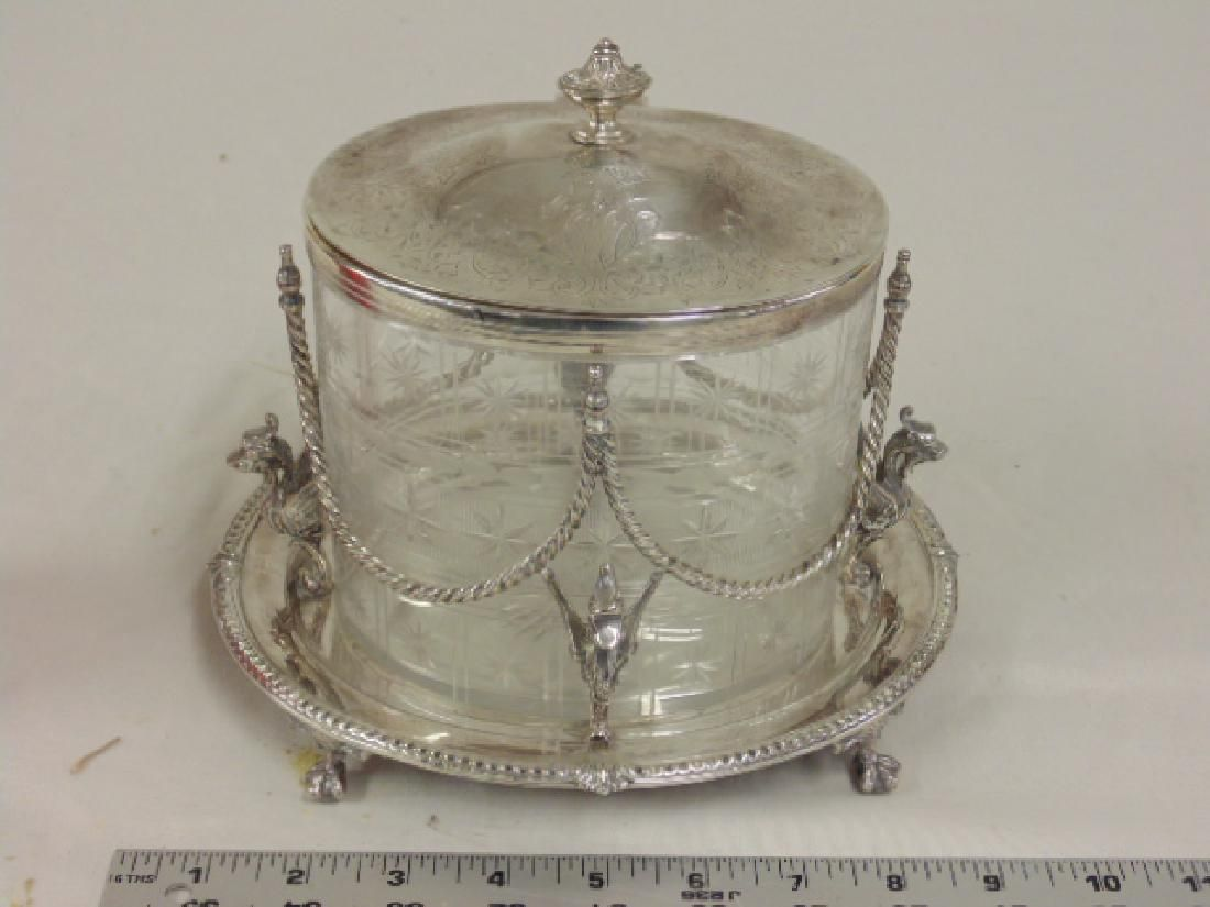 Hallmarked biscuit jar, silver plated base with dragons
