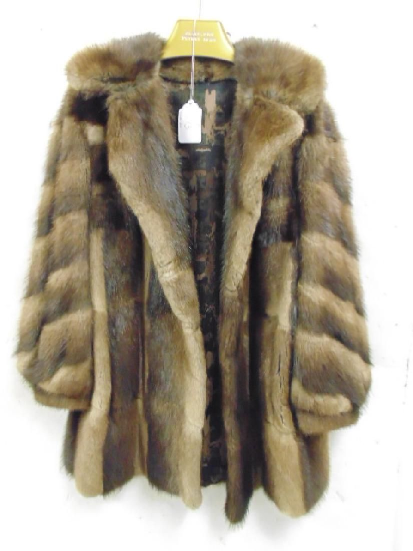 "3/4 length brown fur coat/jacket ""Edythe"" size large"