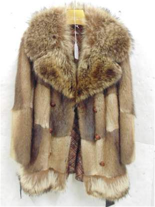34 length brown fur coatjacket with leather belt and