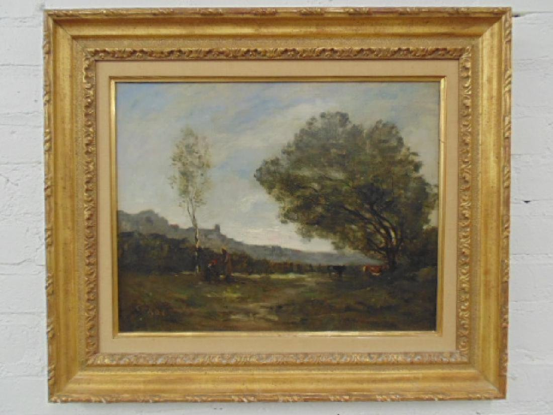 Painting, landscape with figures, cattle, signed
