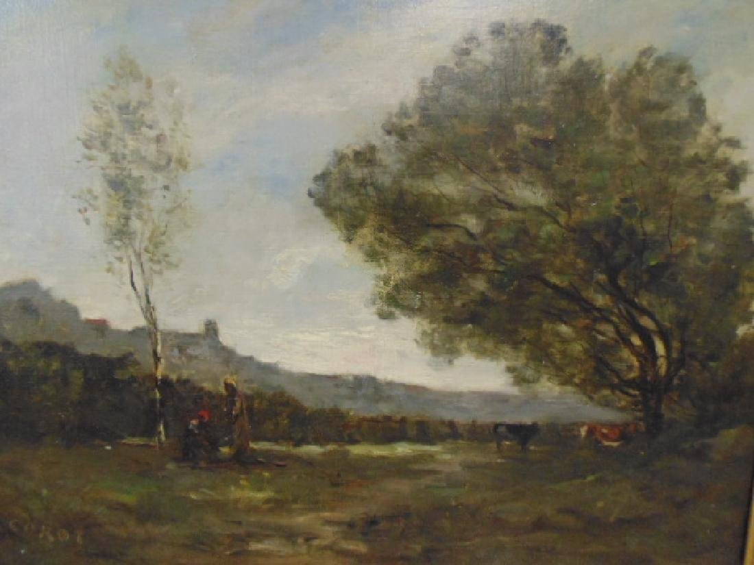 Painting, landscape with figures, cattle, signed - 2