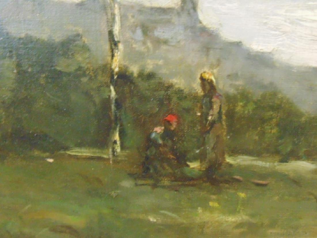 Painting, landscape with figures, cattle, signed - 3