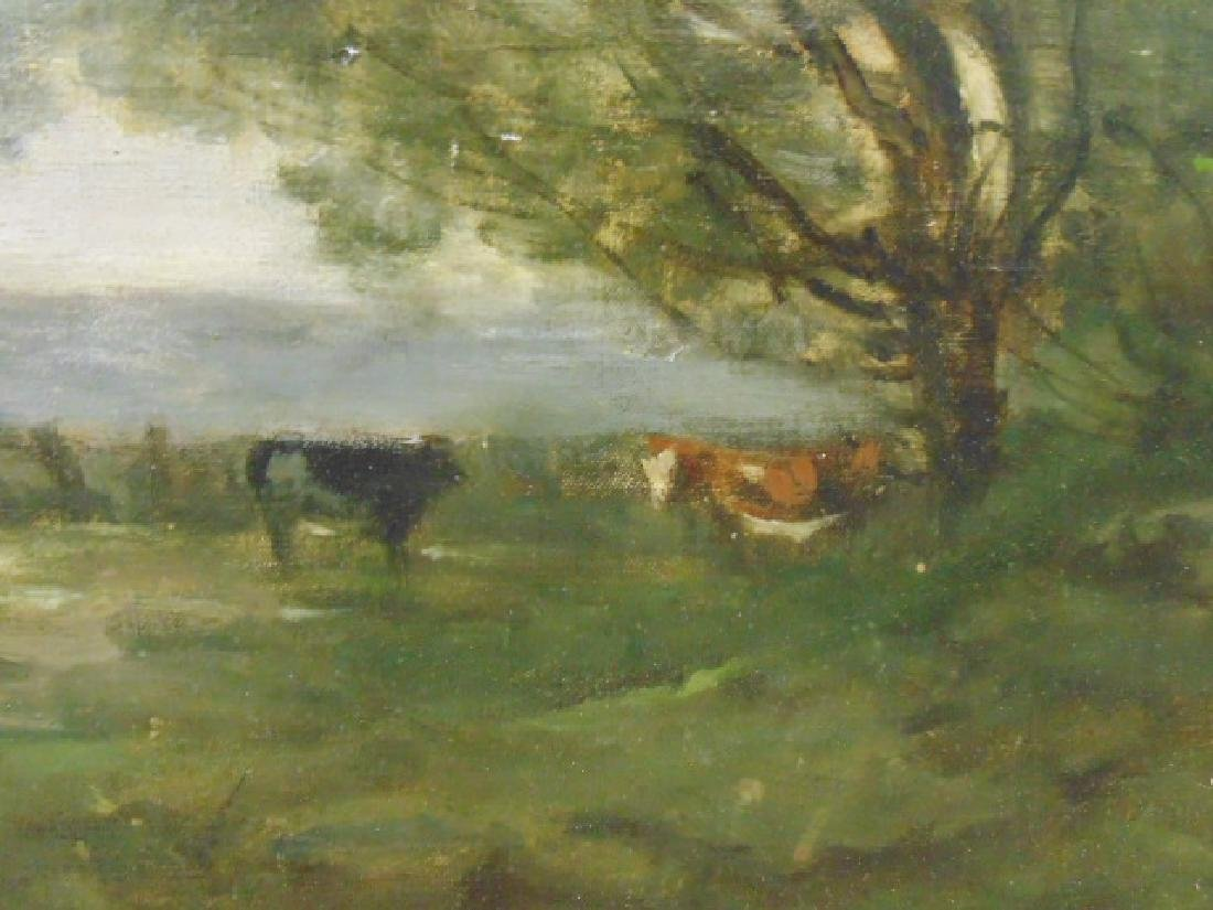 Painting, landscape with figures, cattle, signed - 4