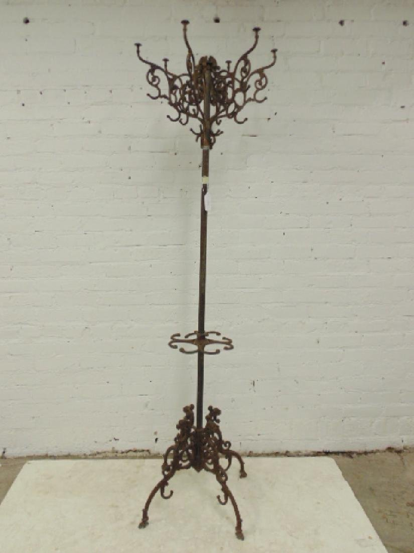 Iron hall tree, umbrella stand, removable top hooks,