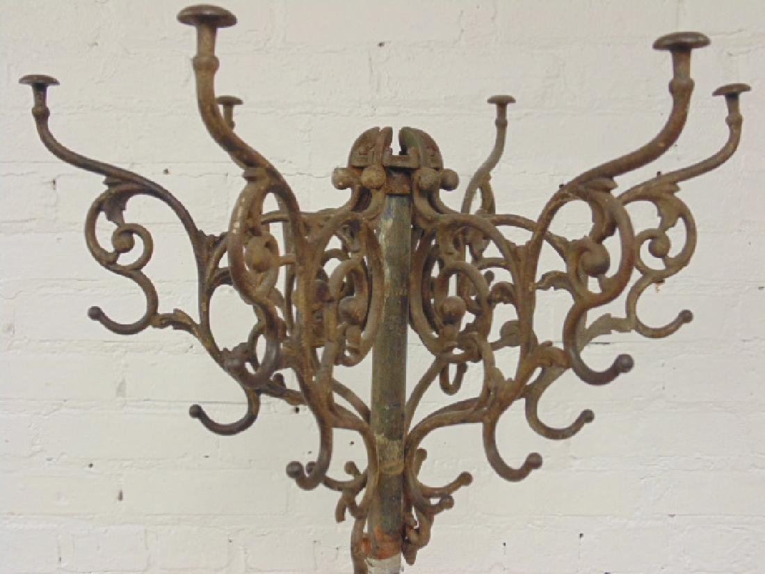 Iron hall tree, umbrella stand, removable top hooks, - 2