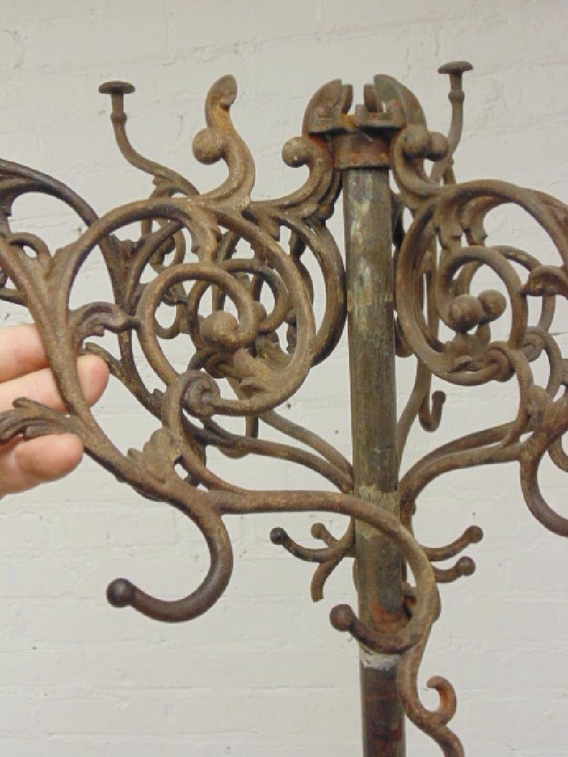 Iron hall tree, umbrella stand, removable top hooks, - 6