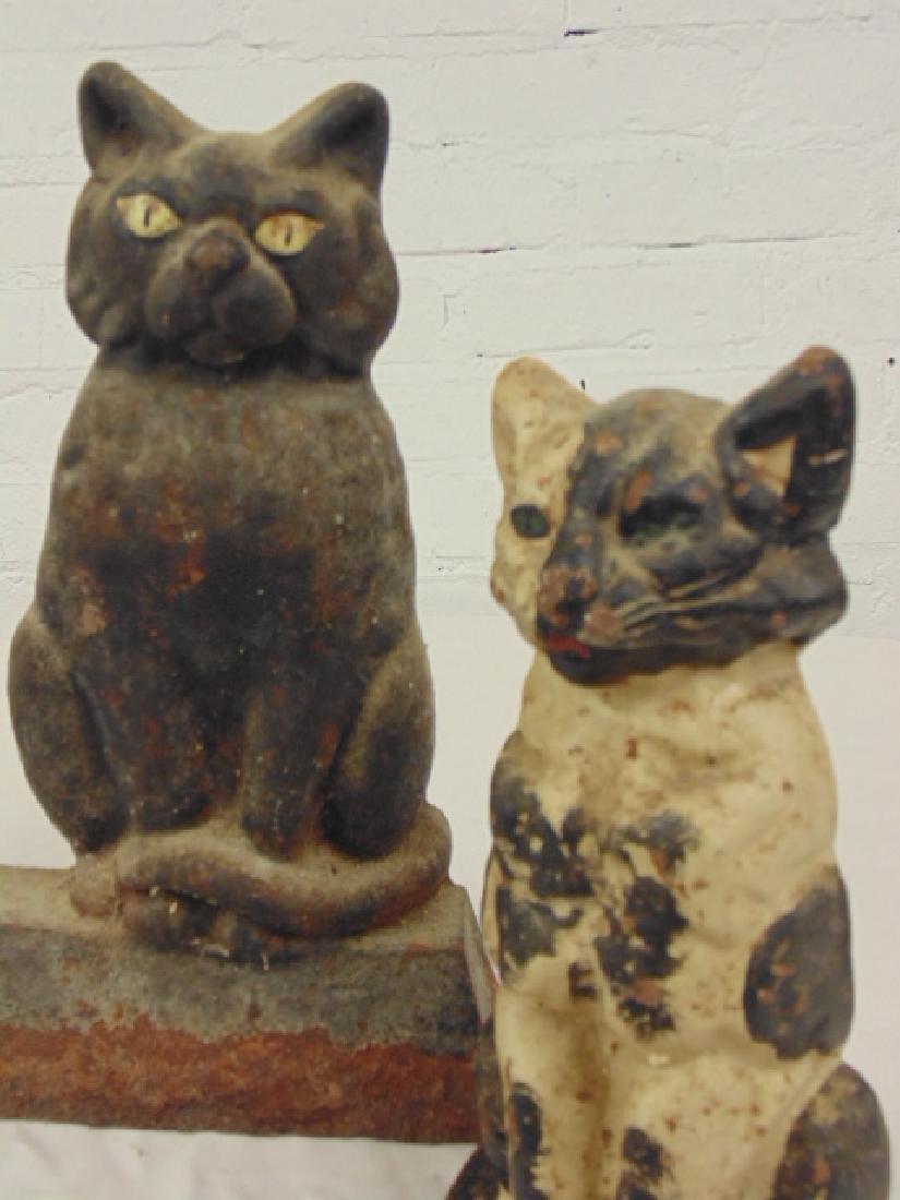 3 cast iron cat doorstops, original paint - 4