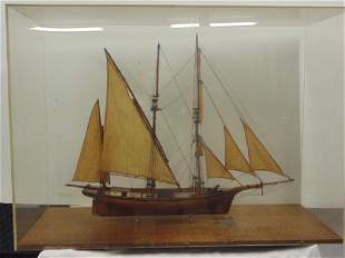 Sailboat model in Lucite case 2 mast sailboat wood