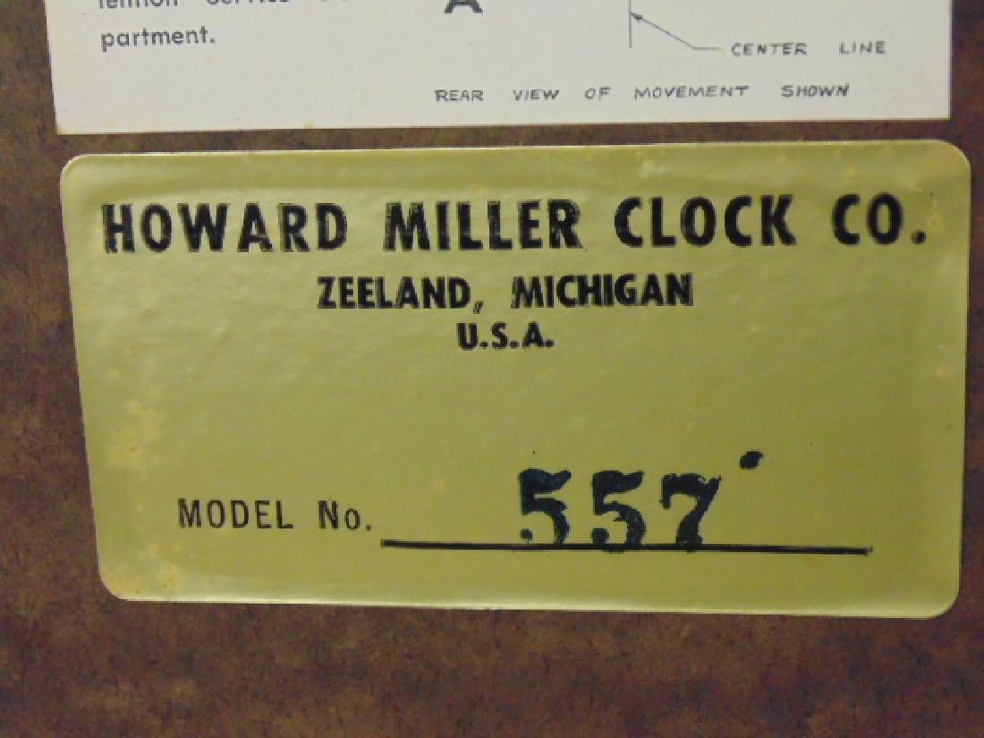Howard Miller mid Century wall clock, model 557, - 5