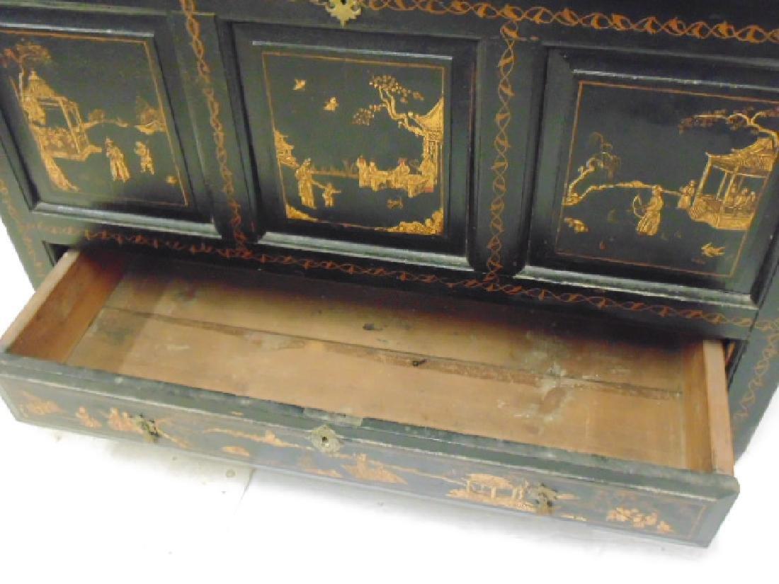 American pine blanket box Japaned, Chinoisserie - 10