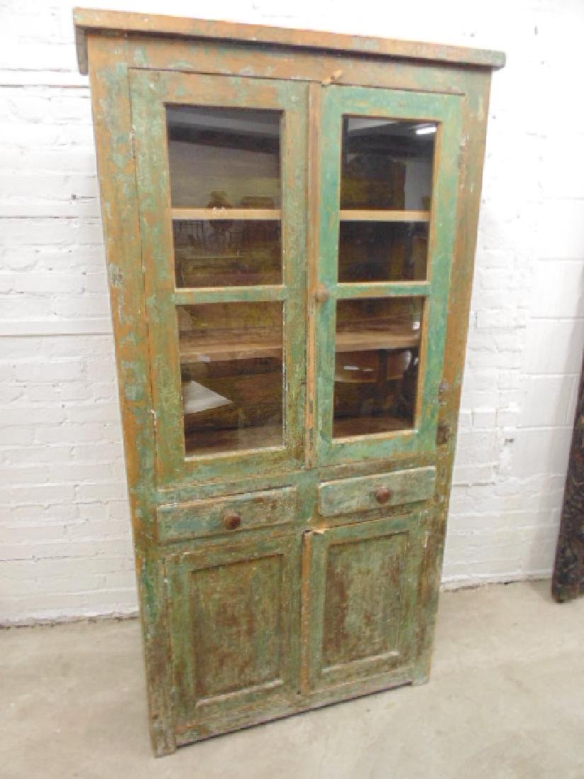 Country cupboard, cabinet in old green paint, double