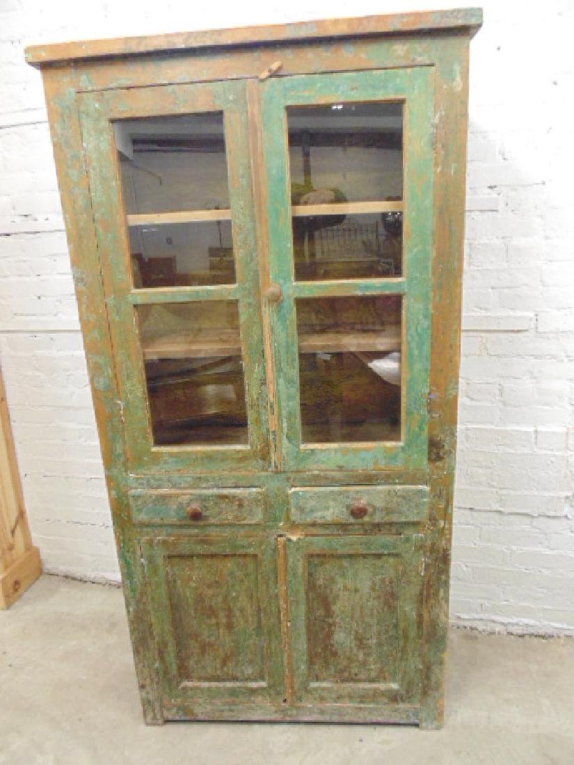Country cupboard, cabinet in old green paint, double - 2