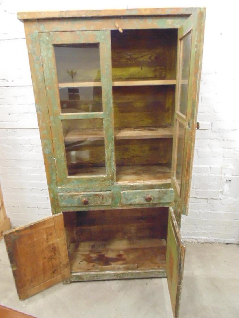 Country cupboard, cabinet in old green paint, double - 3