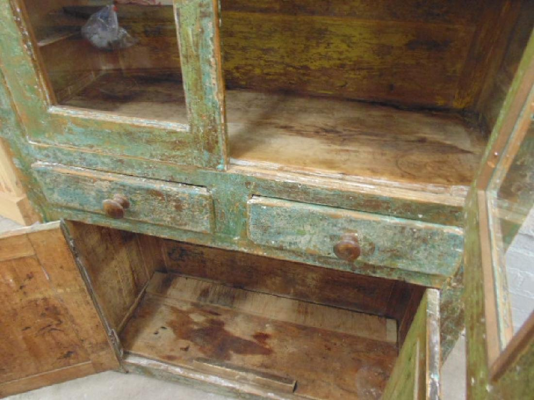 Country cupboard, cabinet in old green paint, double - 4