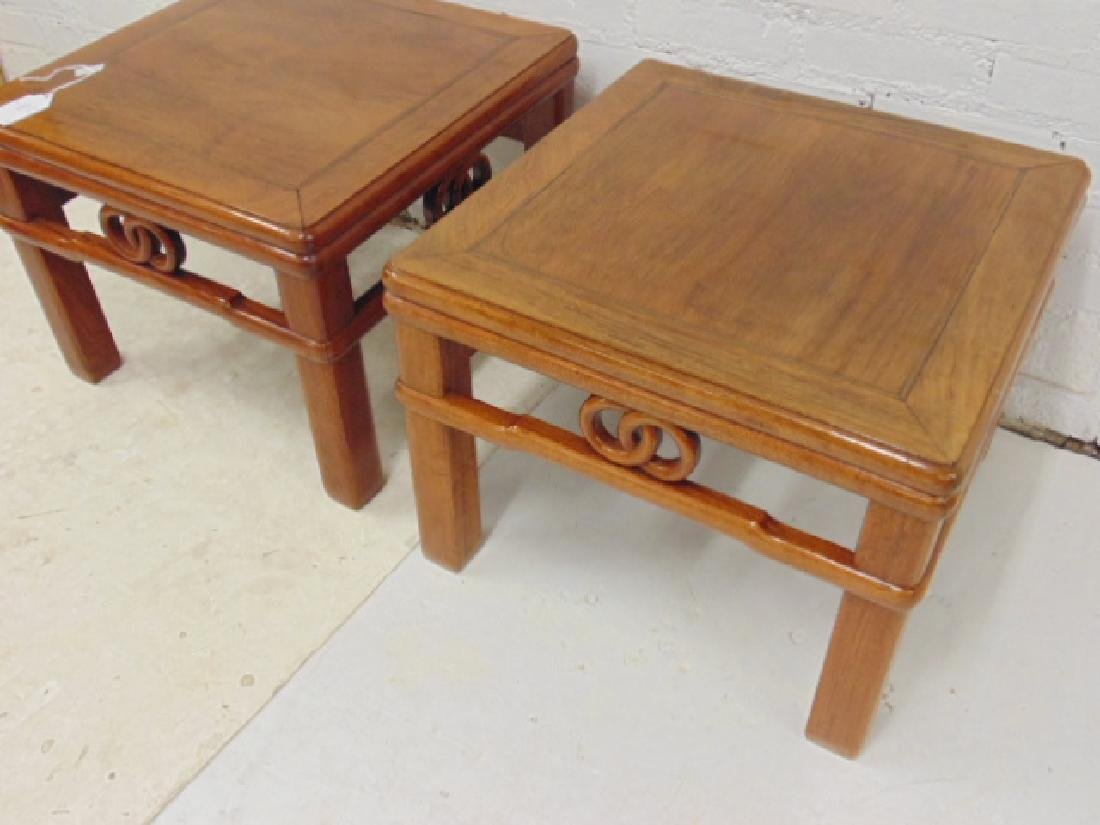 Pair Chinese side tables with carved skirts, each table - 2