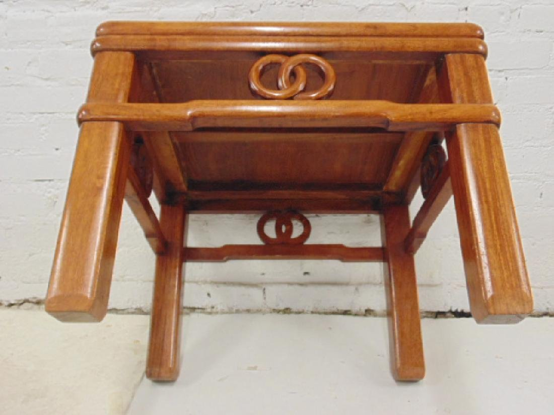 Pair Chinese side tables with carved skirts, each table - 5