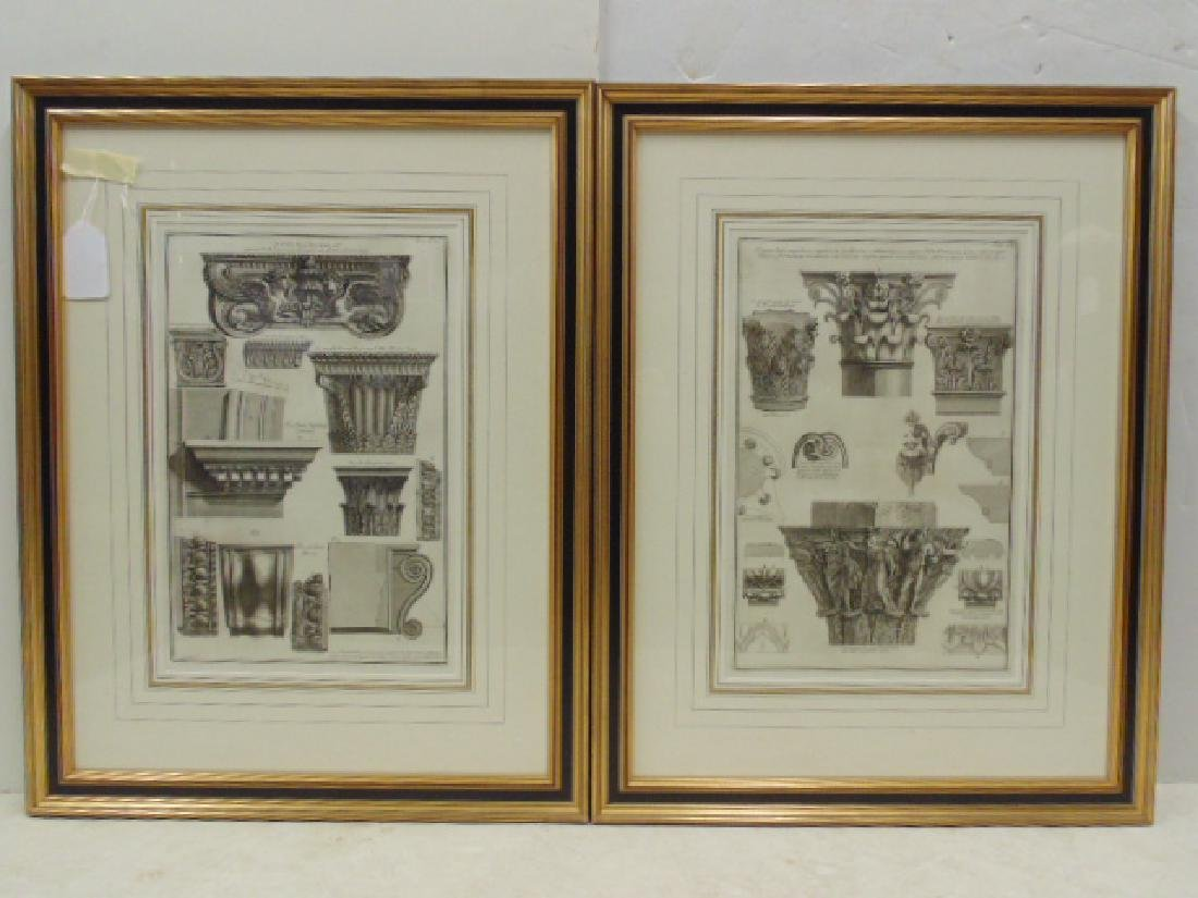 Pair Piranesi etchings, architectural elements,