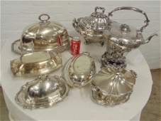 Silver plate lot ornate tureen large covered dish