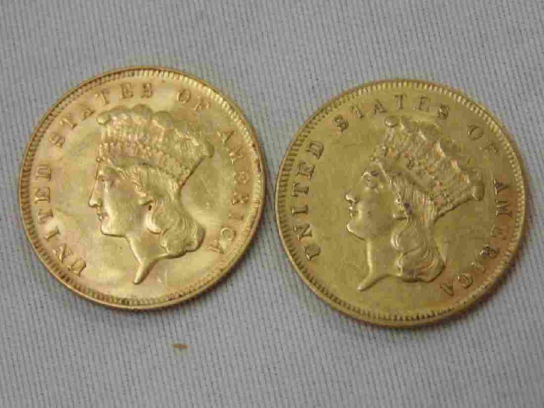 2 gold $3 coins, 1857 & 1878