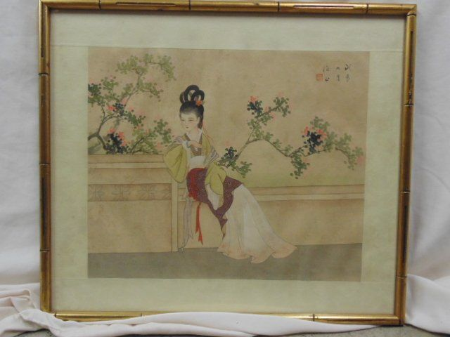 Asian watercolor, portrait of a lady, signed