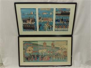 2 Japanese Triptych woodblocks Asian