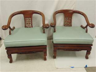 Pair Chinese arm chairs curved arms Kus Taiwan