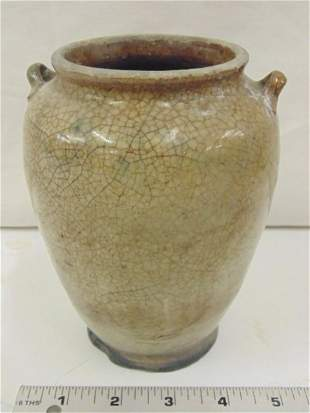 Persian pottery vase with 2 small handles crackled